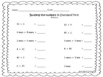 Building 2-digit Numbers in Standard Form-Place Value Practice