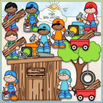 Building A Clubhouse Boys Clip Art - Clubhouse Clip Art - CU Clip Art & B&W