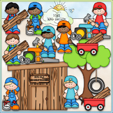 Building A Clubhouse Boys Clip Art - Clubhouse Clip Art -
