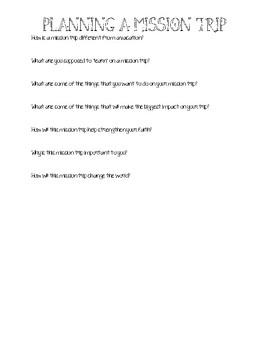 Building A Mission Trip - Brainstorming Document