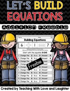 Building Addition Equations FREEBIE