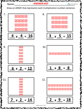Building Arrays and Writing Multiplication Number Sentences