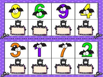 Building Bat Numbers:  LOW PREP Bat Themed Dominoes Activity
