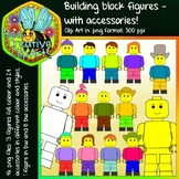 Building Block Figures with Accessories - Clipart