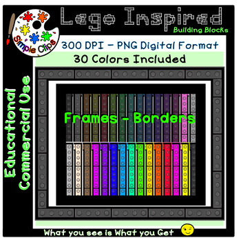 Building Block Lego Inspired Frames Set 2 - Commercial Use {Simple Clips}