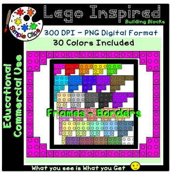 Building Block Lego Inspired Frames Set 3 - Commercial Use {Simple Clips}