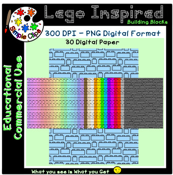 Building Block Lego Inspired Paper Set 2 - Commercial Use {Simple Clips}
