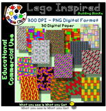 Building Block Lego Inspired Paper Set 5 - Commercial Use