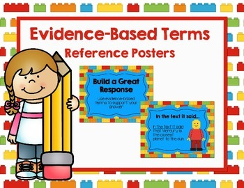 Building Bricks Themed Evidence Based Terms Poster Set and Classroom Decor