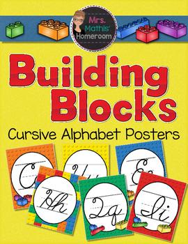 Building Blocks Cursive Alphabet Posters (Alphabet Line)
