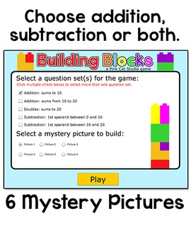 Winter Activities - Addition and Subtraction Building Blocks SmartBoard Game