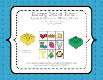 Building Blocks Junior Apraxia Mega Blocks Cards CV, VC, CVCV, & CVC