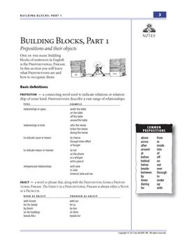Building Blocks, Part 1: Prepositions—Teacher Guide
