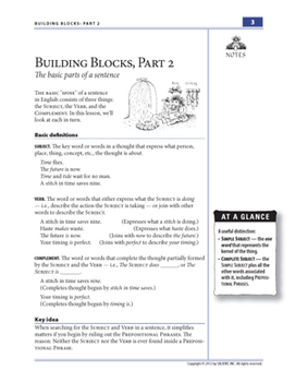 Building Blocks, Part 2: Subjects, Verbs, & Complements—Student Guide
