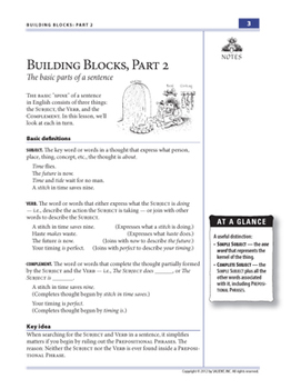 Building Blocks, Part 2: Subjects, Verbs, & Complements—Teacher Guide