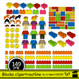 NEW Building Blocks clipart Mega set 149 files multicolor+black white coloring