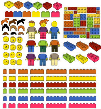 NEW Building Blocks clipart Mega set 149 files multicolor+black white coloring