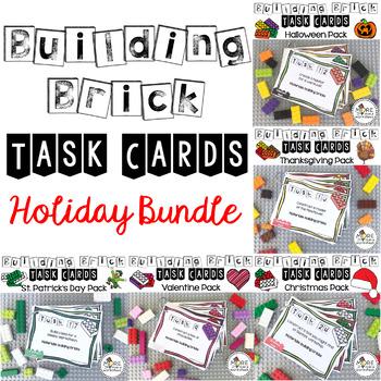 Building Brick Task Cards Holiday Bundle