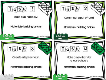 Building Brick Task Cards St. Patrick's Day Edition