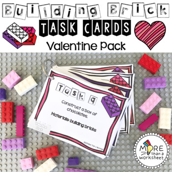 Building Brick Task Cards Valentine Edition