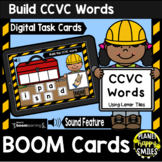 Building CCVC Words with Letter Tiles BOOM Cards:  Construction Theme