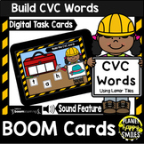 Building CVC Words with Letter Tiles Construction Theme BOOM Cards