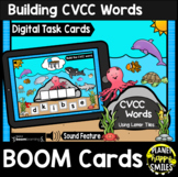 Building CVCC Words with Letter Tiles BOOM Cards:  Ocean Animals Theme