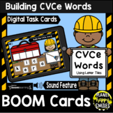 Building CVCe Words with Letter Tiles BOOM Cards:  Construction Theme