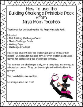 Building Challenge Printable Pack- No Prep
