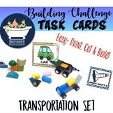 Building Challenge Task Picture Cards - Transportation Pack