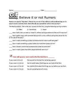 Building Character: Believe it or not RUMORS Worksheet