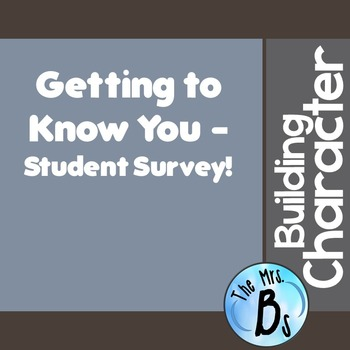 Building Character: Getting to Know You Questionnaire