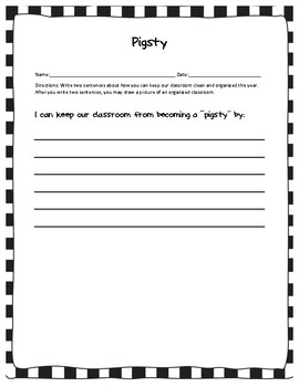 """Pigsty"" Building Character Lesson Plan - Respect the classroom"