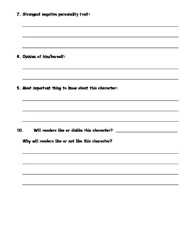 Building Character Profiles for Narratives; Writing Strategies; Printables
