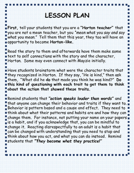 Building Character with Horton Hatches the Egg by Dr. Seuss by karen ...