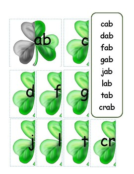 Building Family Words with Clovers (Shamrocks)