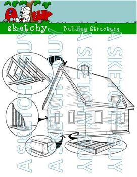 Building / House Structure Clipart / Graphics White Transparent - 300dpi