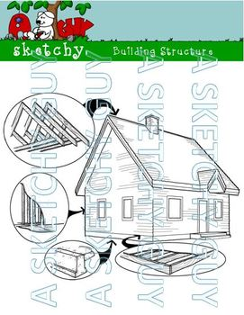 Building / House Structure Clipart / Graphics White Transp