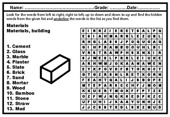 Building Materials, Word Search Worksheets