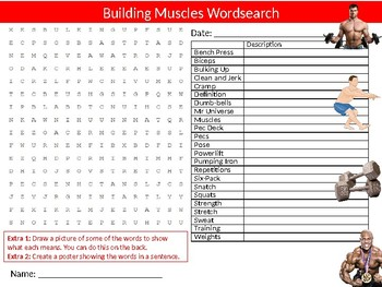 Building Muscles Wordsearch Sheet Starter Activity Keywords Health & Fitness