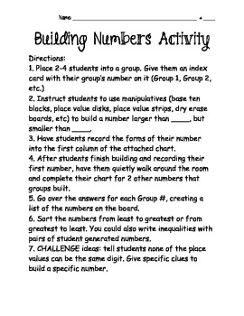 Building Numbers Activity