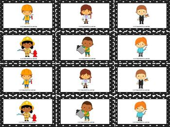 Building Patterns:  LOW PREP Community Helper Themed Roll and Pattern Activity