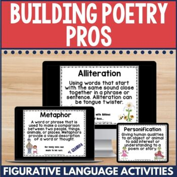 In this resource, you'll find all you need to teach key poetic devices using your favorite poems. Within the listing, you'll find recommended poets for grades four through six whose poems mesh well with these activities and grade level expectations. To learn exactly what's included, click to see a preview and outline of the content.