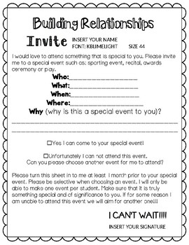 Building Relationships With Your Students FREEBIE (teacher invitation)