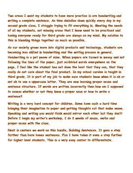 Building Sentences- A 2nd Grade Sentence and Handwriting Literacy Center