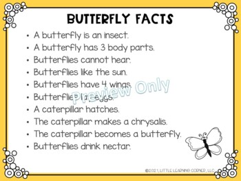 Building Sentences Butterfly Facts