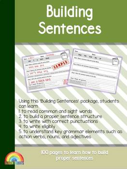Building sentences with adjectives teaching resources teachers pay building sentences grammar sight words nouns adjectives action verbs fandeluxe Images