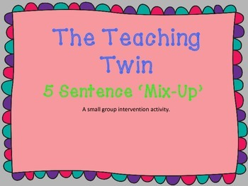 Building Sentences Intervention Activity