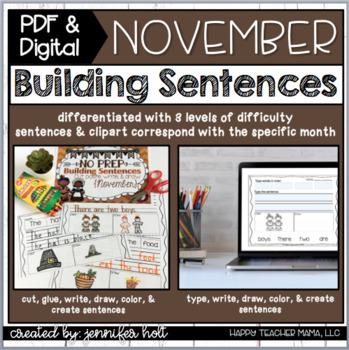 Building Sentences (November) | PDF & Digital for Distance Learning