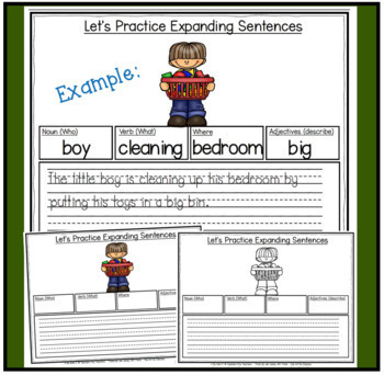 Parts Of Speech: Expanding Sentences ~ Back to School for K-2